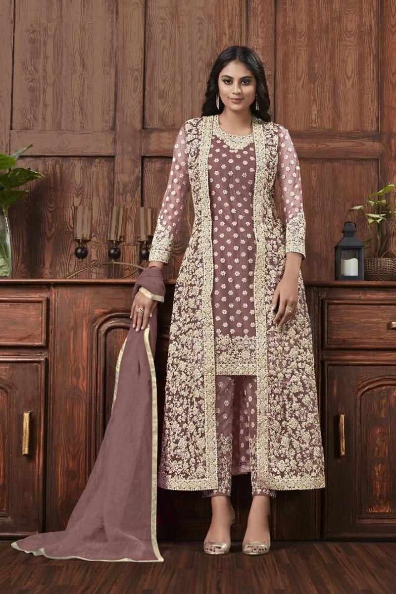 Dark Beige Color Festive Wear Fancy Embroidered Net Fabric Straight Cut Suit