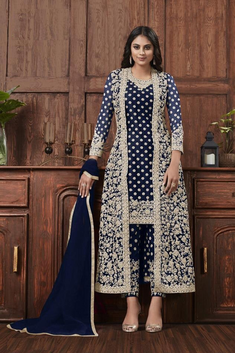 Net Fabric Festive Wear Fancy Embroidered Navy Blue Color Straight Cut Suit