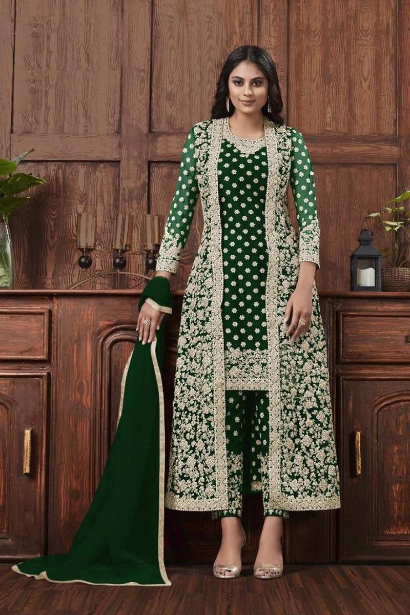 Festive Wear Dark Green Color Fancy Embroidered Net Fabric Straight Cut Dress