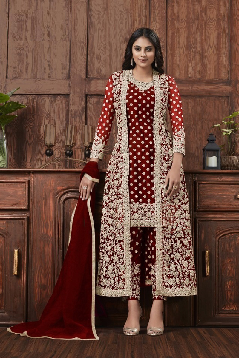 Festive Wear Fancy Net Fabric Embroidered Straight Cut Suit In Maroon Color