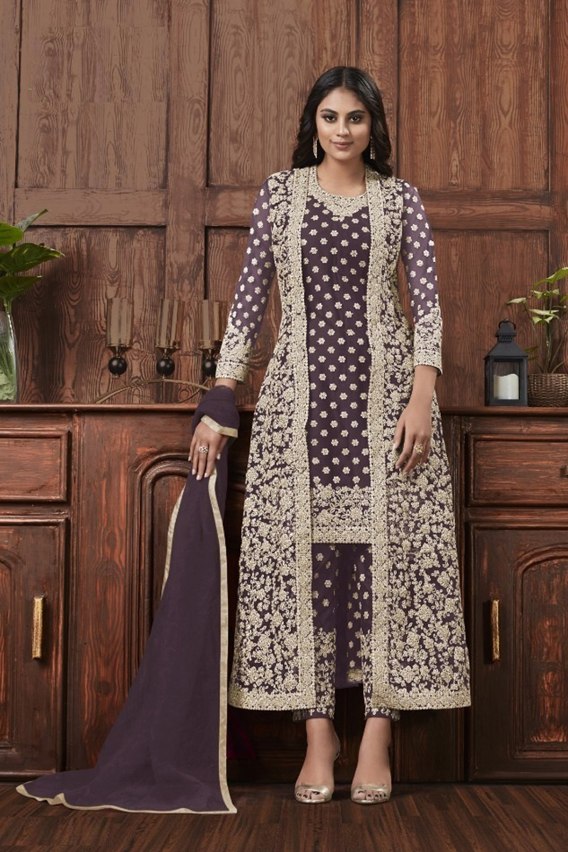 Festive Wear Wine Color Fancy Net Fabric Embroidered Straight Cut Dress