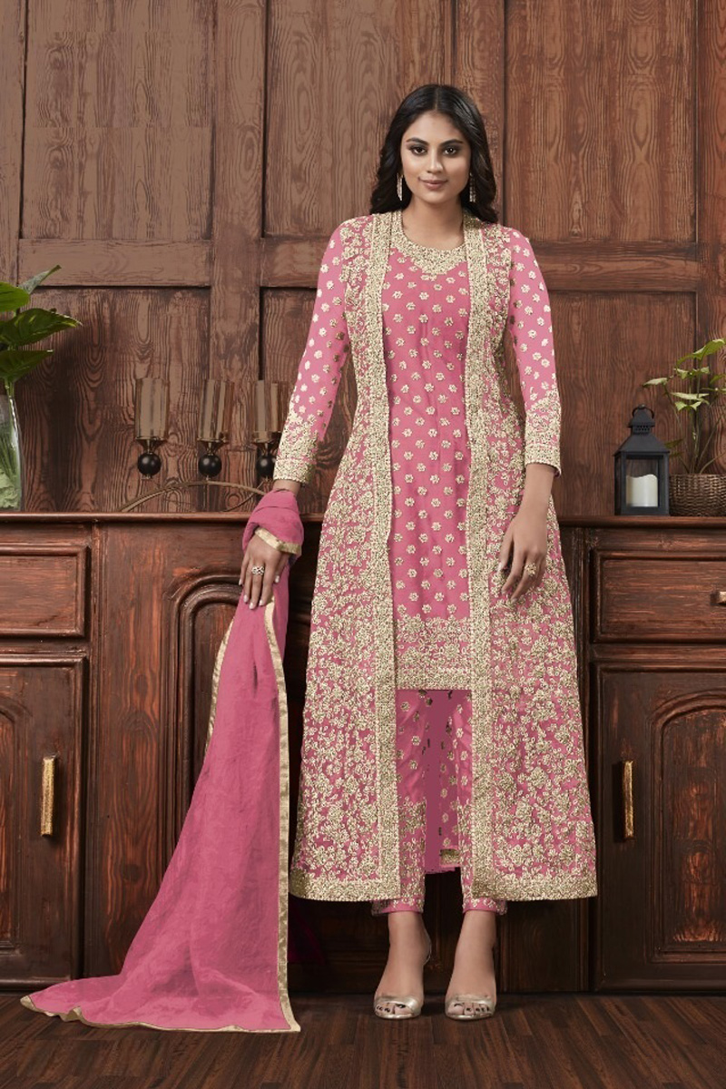 Net Fabric Festive Wear Fancy Embroidered Straight Cut Suit In Pink Color