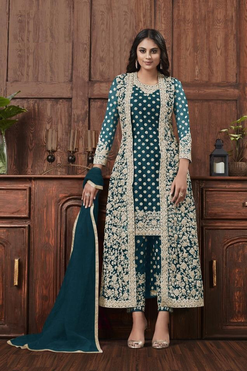 Teal Color Festive Wear Fancy Embroidered Straight Cut Suit In Net Fabric