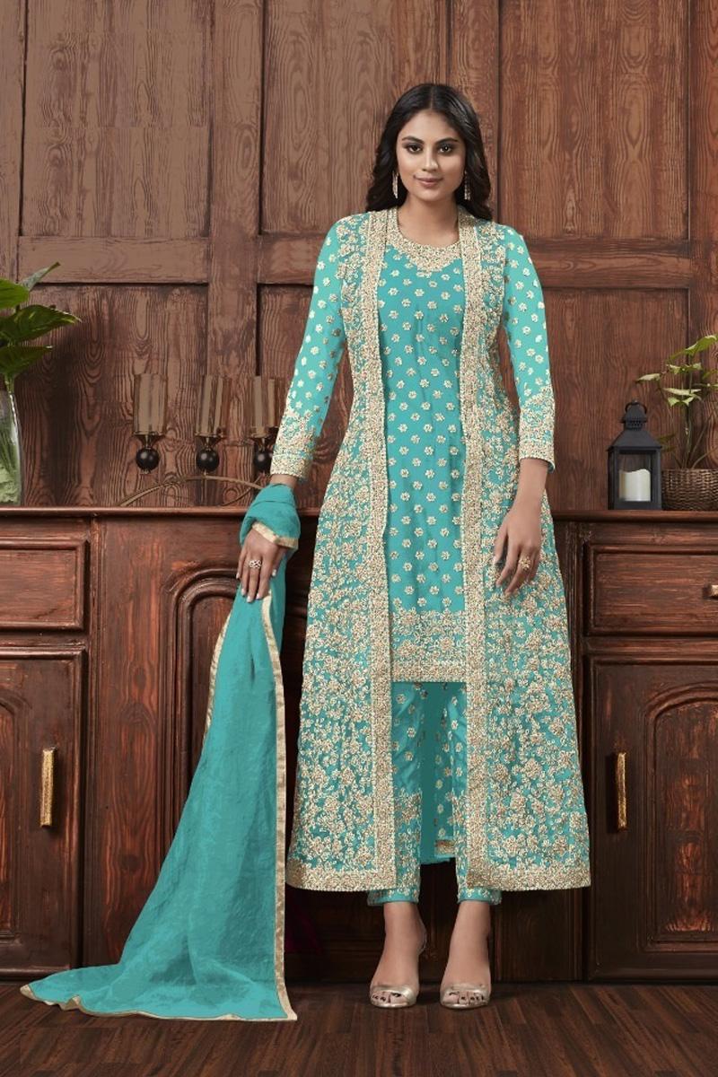 Festive Wear Net Fabric Fancy Embroidered Light Cyan Color Straight Cut Dress