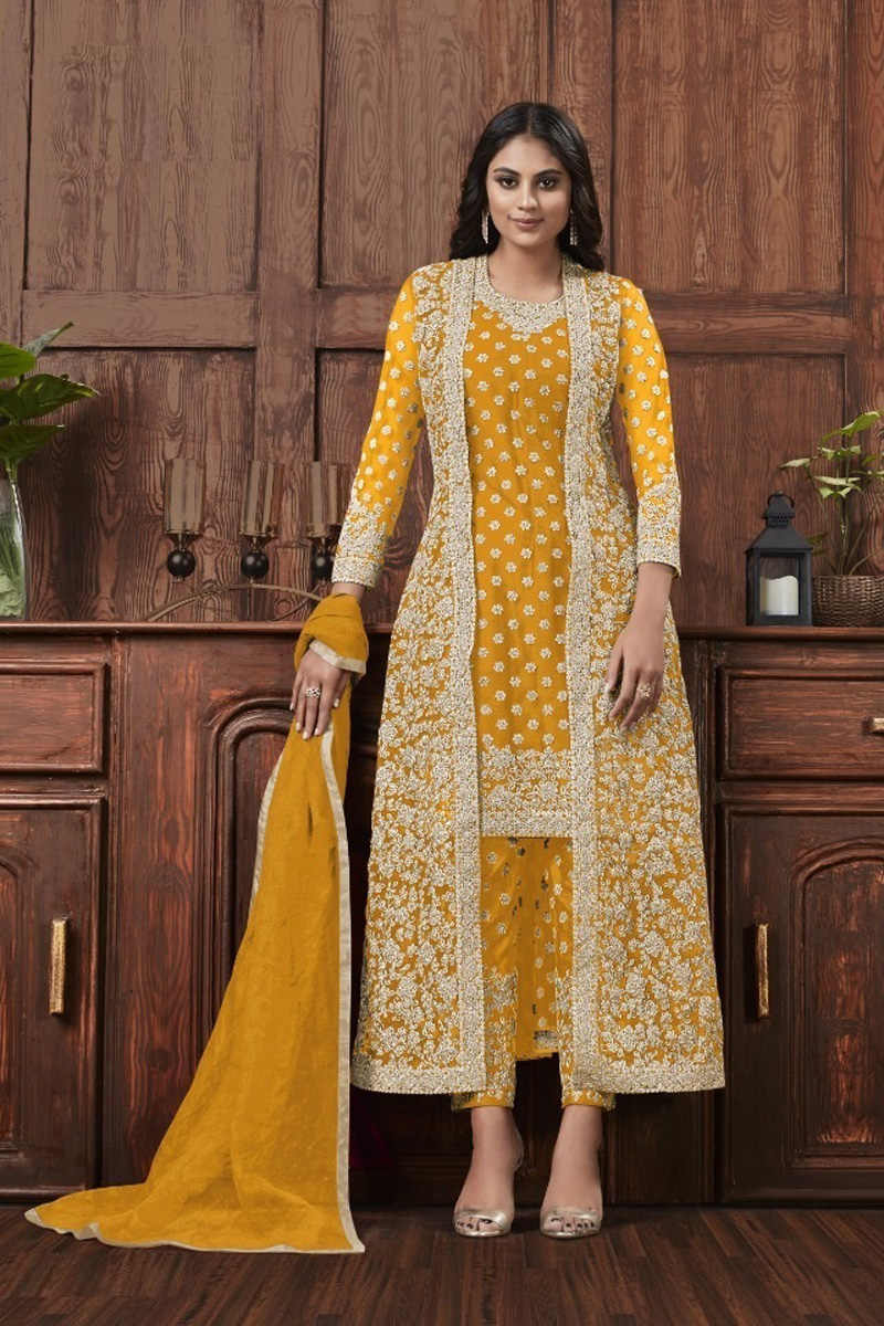 Net Fabric Festive Wear Fancy Embroidered Yellow Color Straight Cut Dress