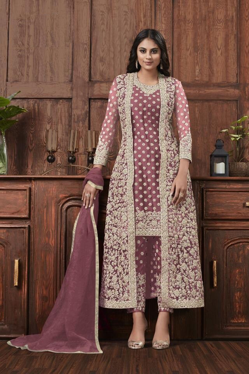 Festive Wear Fancy Lavender Color Embroidered Straight Cut Suit In Net Fabric
