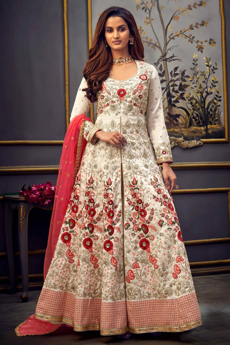 Off White Color Function Wear Embroidered Long Length Anarkali Dress In Art Silk Fabric