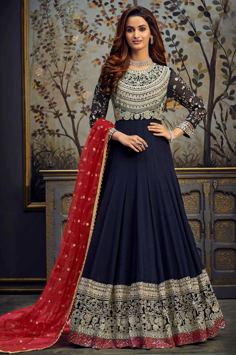 Function Wear Navy Blue Color Georgette Fabric Embroidered Floor Length Anarkali Suit