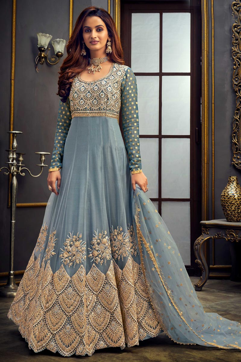 Function Wear Grey Color Floor Length Net Fabric Embroidered Anarkali Suit