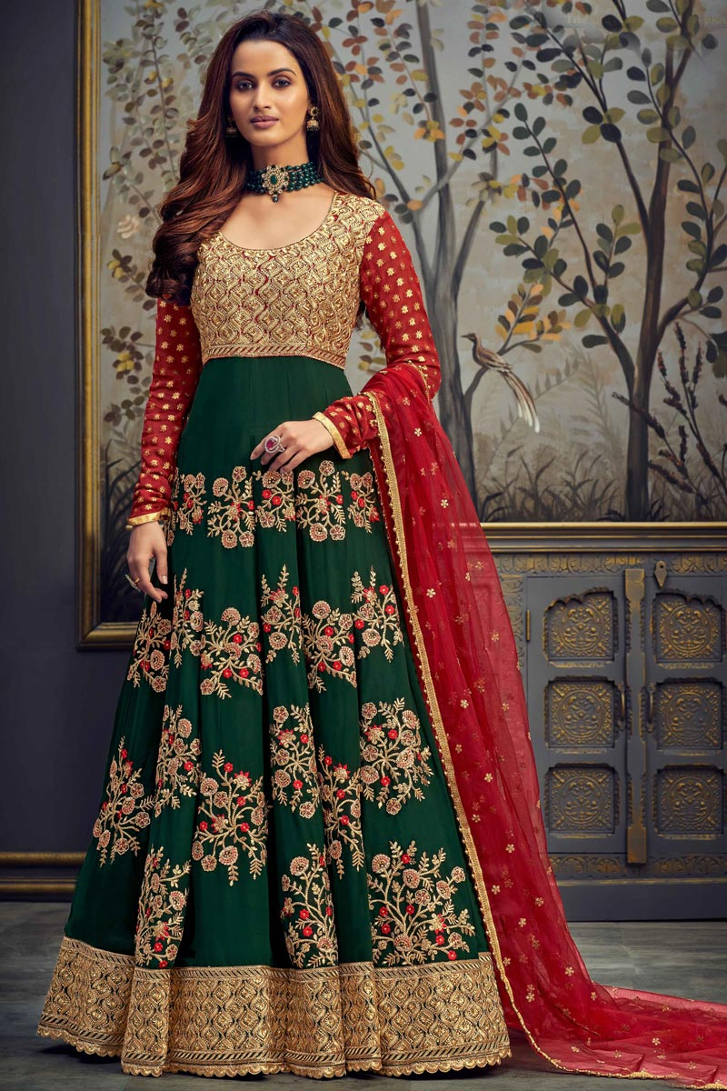 Function Wear Embroidered Green Color Long Length Anarkali Dress In Georgette Fabric