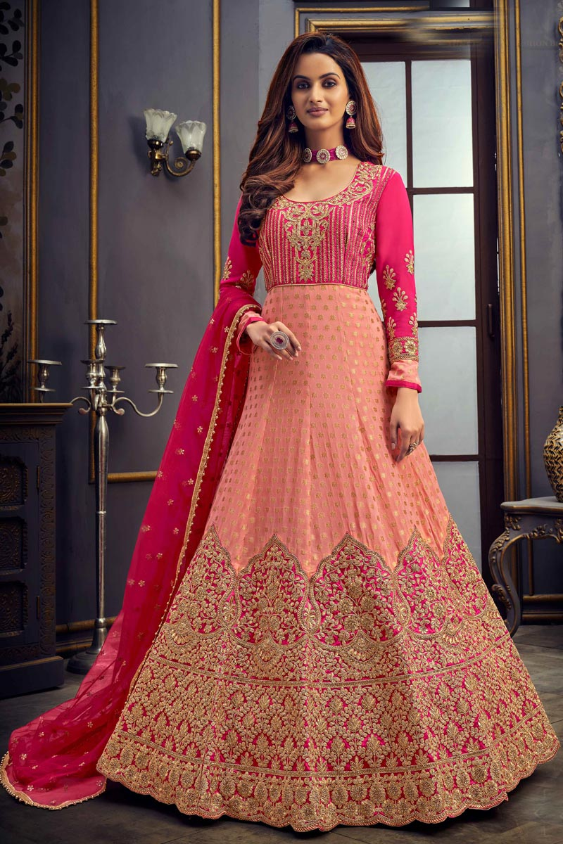Viscose Fabric Function Wear Pink Color Floor Length Embroidered Anarkali Suit