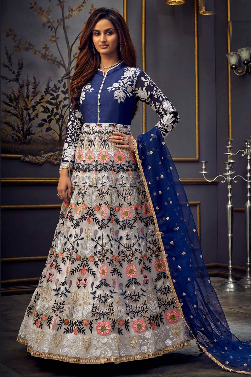 Function Wear Embroidered Long Length Off White Color Anarkali Dress In Net Fabric