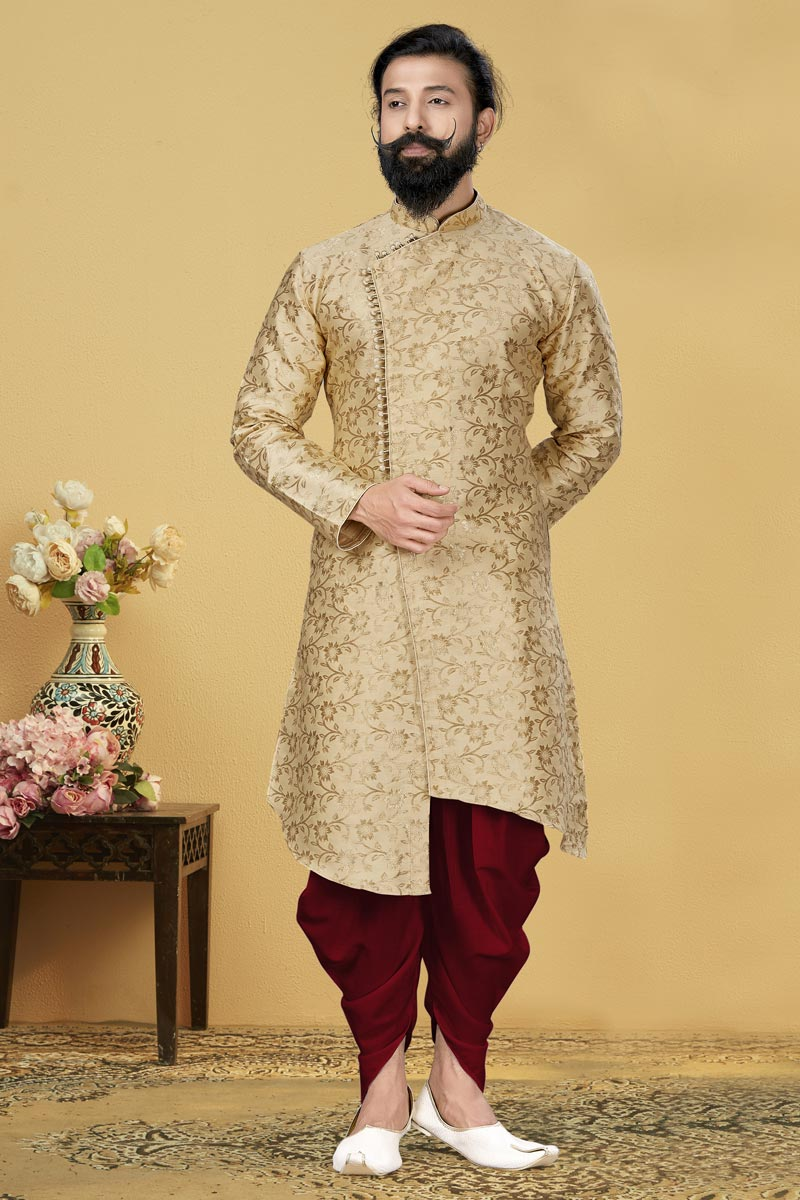 Beige Color Jacquard Silk Fabric Function Wear Designer Dhoti Style Indo Western For Men