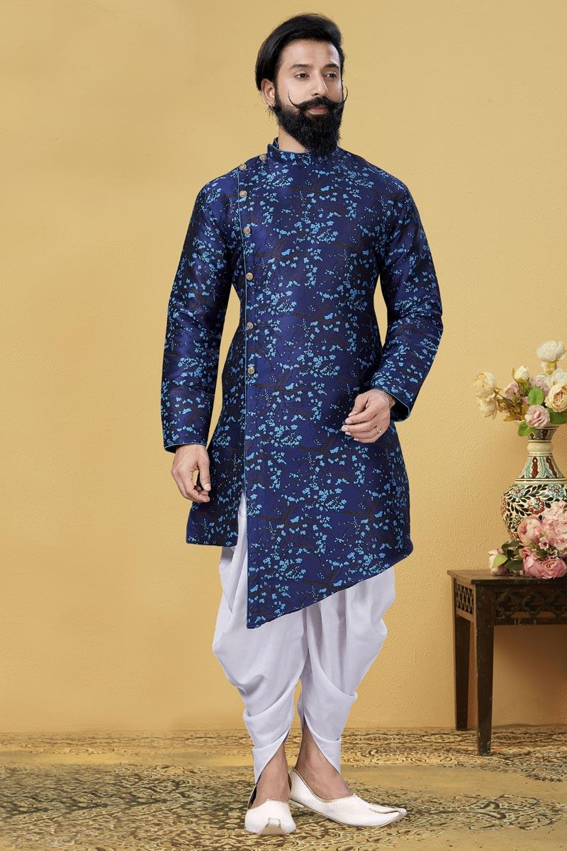 Navy Blue Color Art Silk Fabric Sangeet Wear Designer Dhoti Style Indo Western For Men