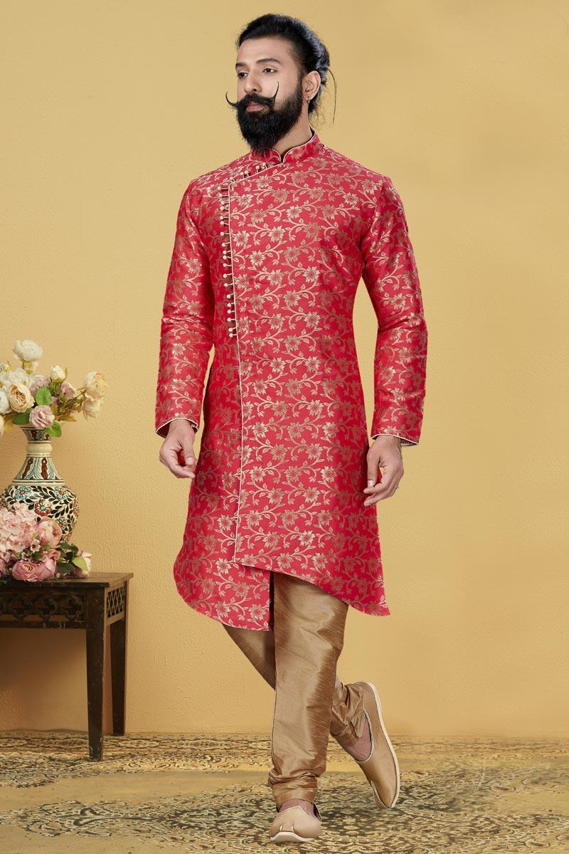 Pink Color Jacquard Silk Fabric Wedding Wear Designer Indo Western For Men