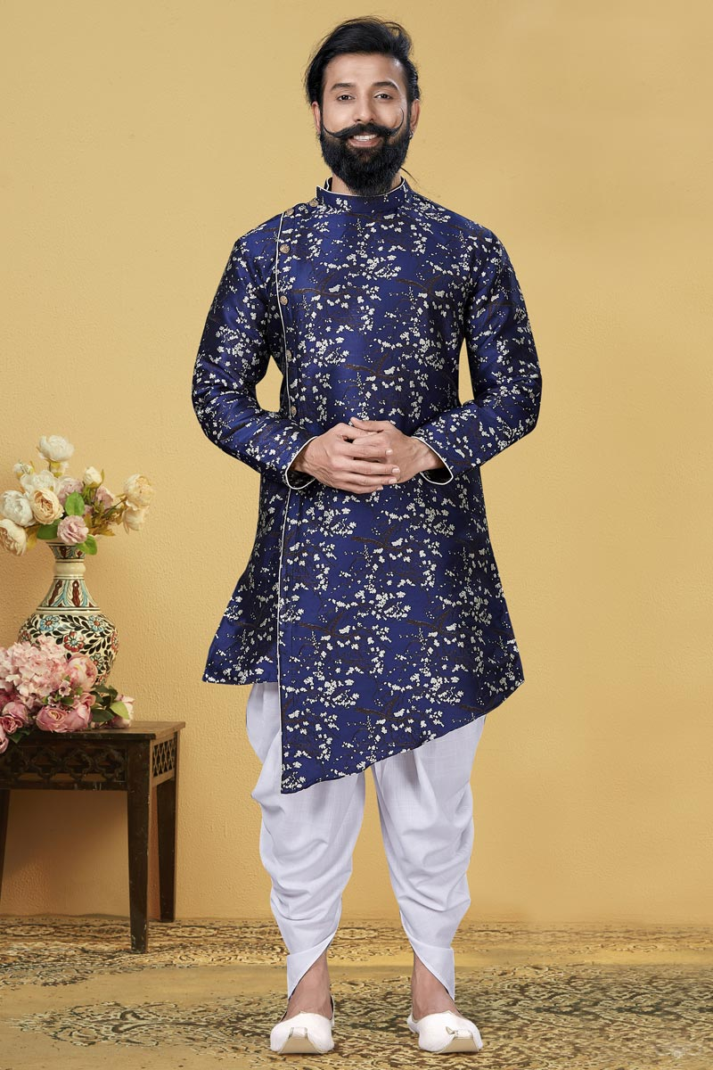 Navy Blue Color Art Silk Fabric Function Wear Designer Dhoti Style Indo Western For Men