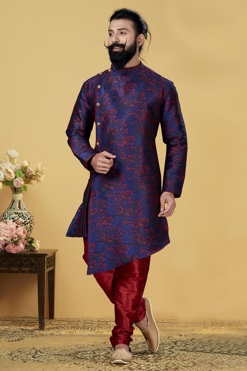 Navy Blue Color Art Silk Fabric Sangeet Wear Designer Indo Western For Men