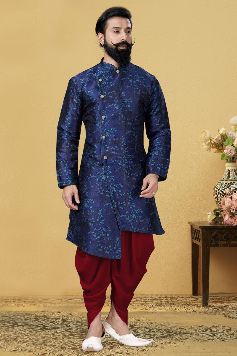 Navy Blue Color Art Silk Fabric Wedding Wear Designer Dhoti Style Indo Western For Men