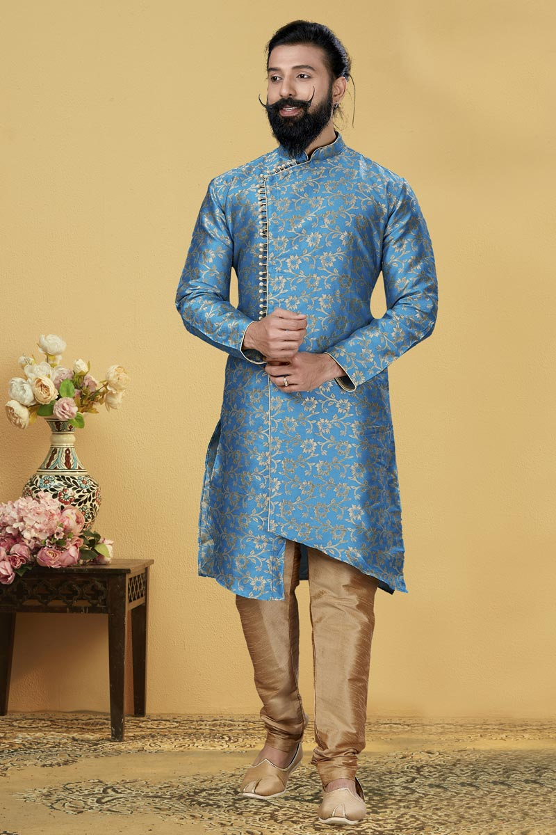 Sky Blue Color Jacquard Silk Fabric Reception Wear Designer Indo Western For Men
