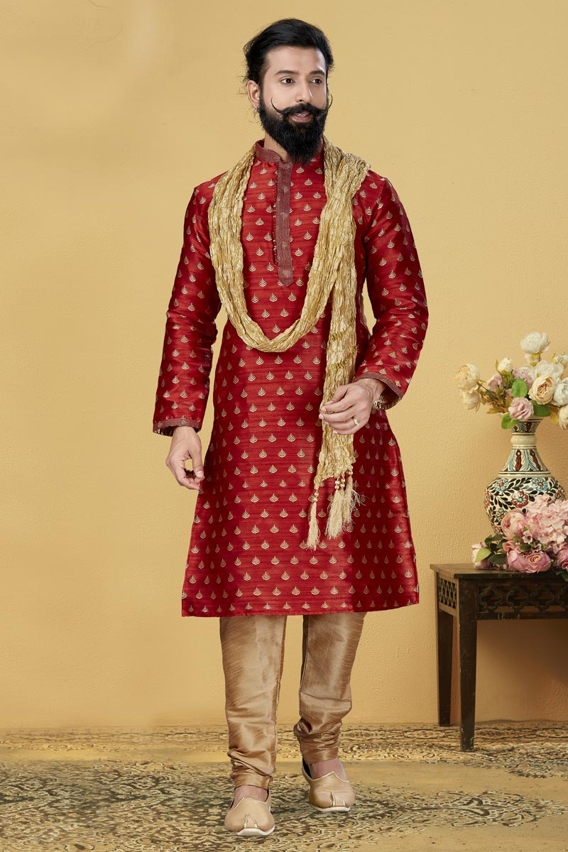 Maroon Color Art Silk Fabric Function Wear Fancy Kurta Pyjama