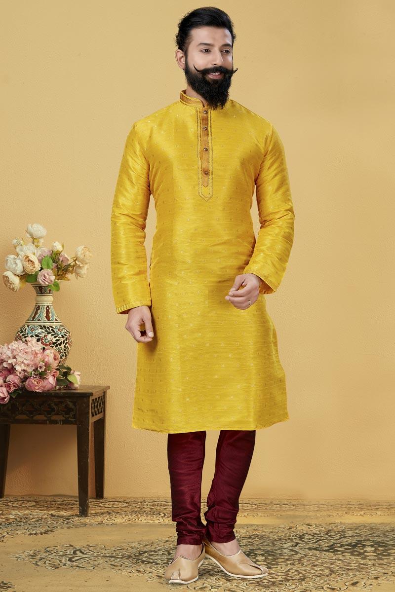 Yellow Color Jacquard Silk Fabric Festive Wear Fancy Kurta Pyjama