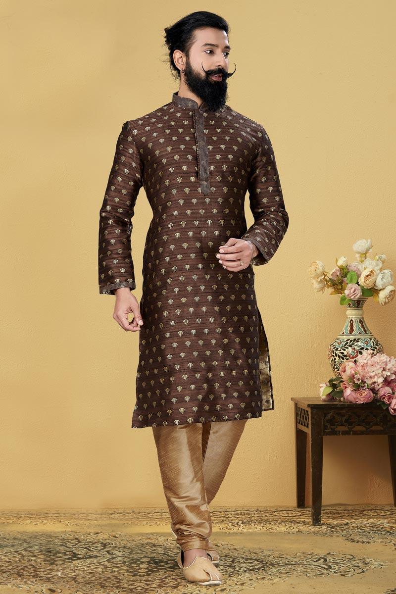 Brown Color Art Silk Fabric Sangeet Wear Fancy Kurta Pyjama