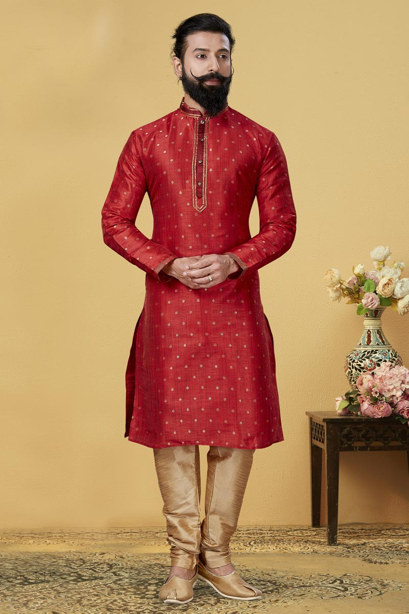 Red Color Jacquard Silk Fabric Puja Wear Fancy Kurta Pyjama