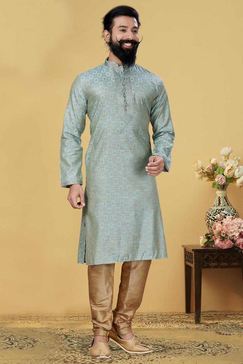 Light Cyan Color Jacquard Silk Fabric Sangeet Wear Fancy Kurta Pyjama