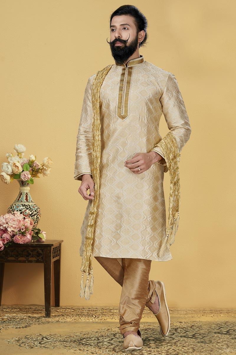 Jacquard Silk Fabric Wedding Wear Fancy Kurta Pyjama