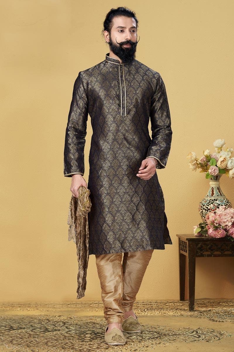 Black Color Jacquard Silk Fabric Reception Wear Fancy Kurta Pyjama