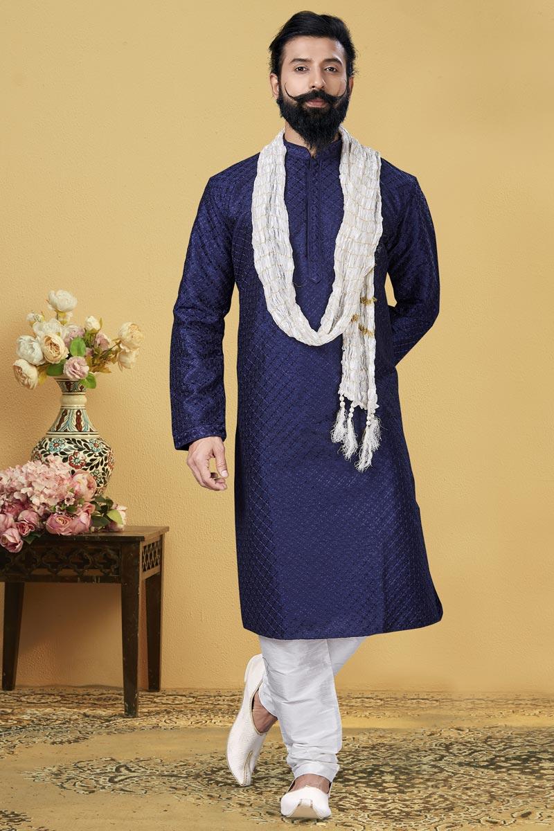 Navy Blue Color Dhupion Fabric Puja Wear Fancy Kurta Pyjama