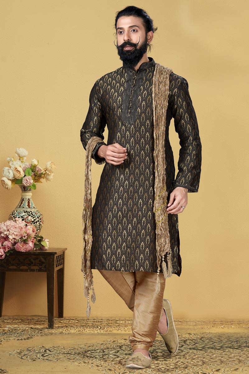 Black Color Jacquard Silk Fabric Function Wear Fancy Kurta Pyjama