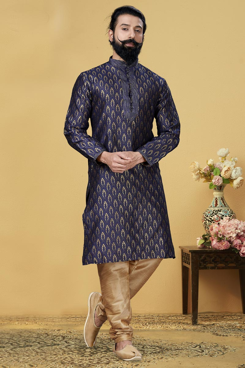 Navy Blue Color Jacquard Silk Fabric Festive Wear Fancy Kurta Pyjama