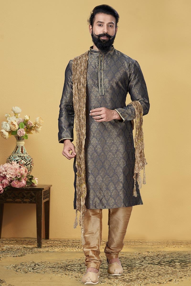 Grey Color Jacquard Silk Fabric Sangeet Wear Fancy Kurta Pyjama
