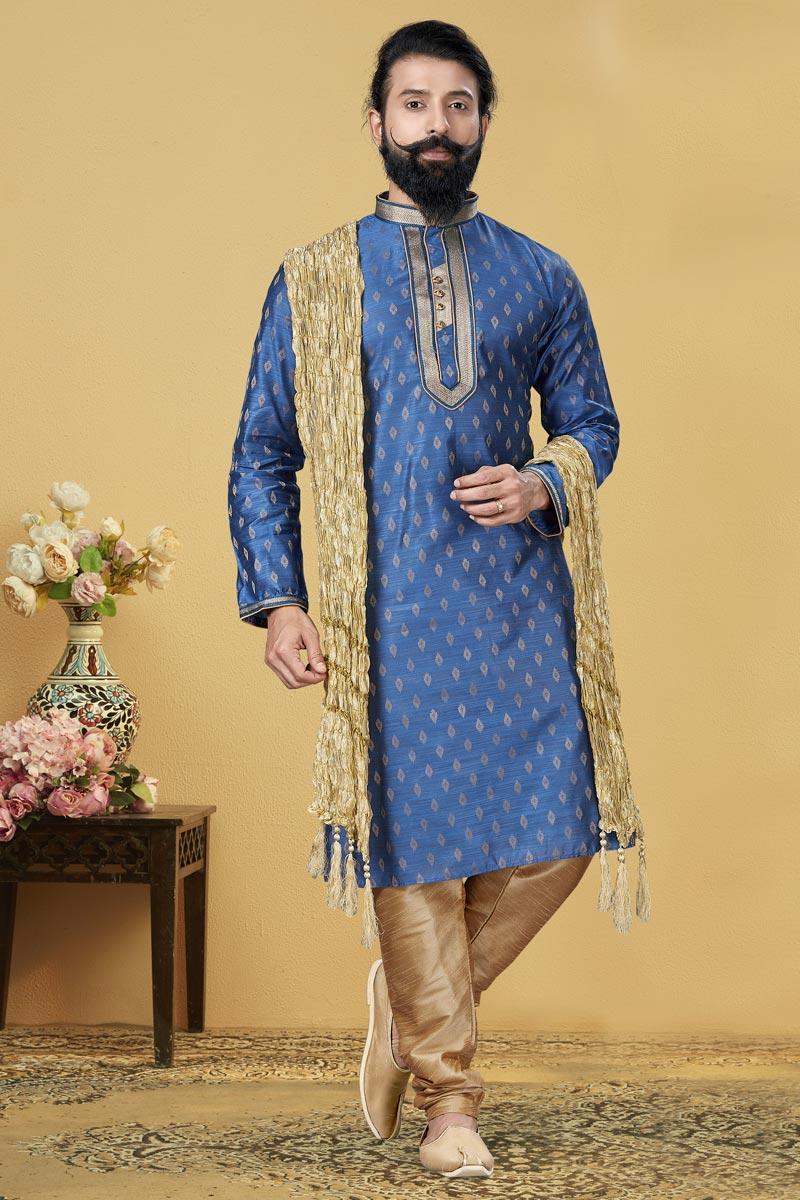 Sky Blue Color Jacquard Silk Fabric Wedding Wear Fancy Kurta Pyjama