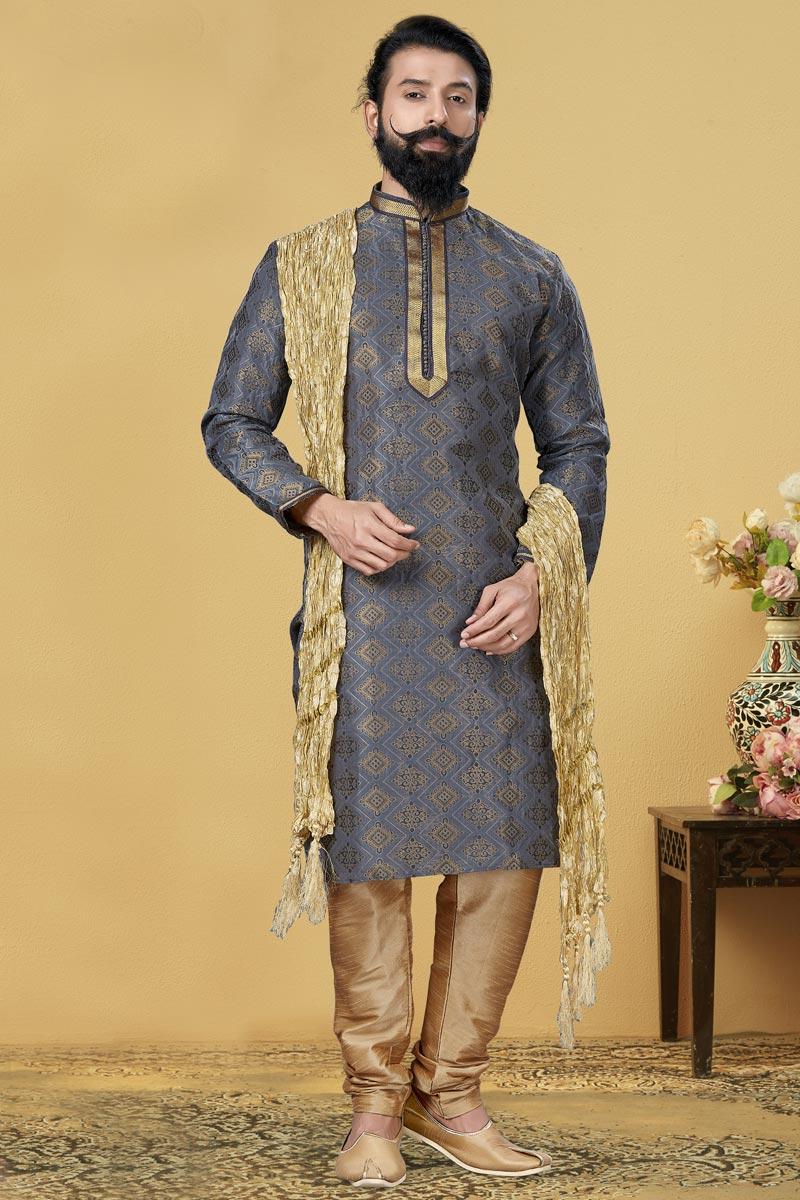 Grey Color Jacquard Silk Fabric Reception Wear Fancy Kurta Pyjama
