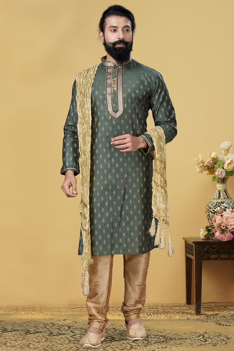 Green Color Jacquard Silk Fabric Puja Wear Fancy Kurta Pyjama