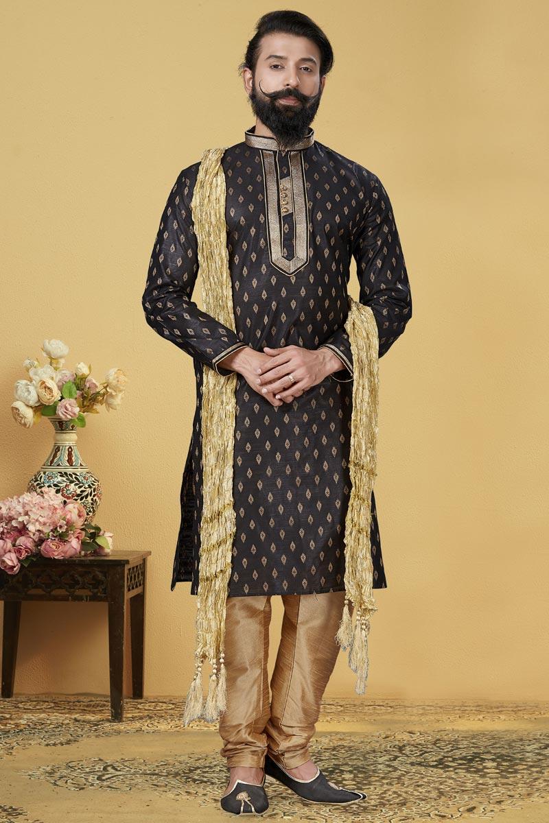 Black Color Function Wear Kurta Pyjama For Men