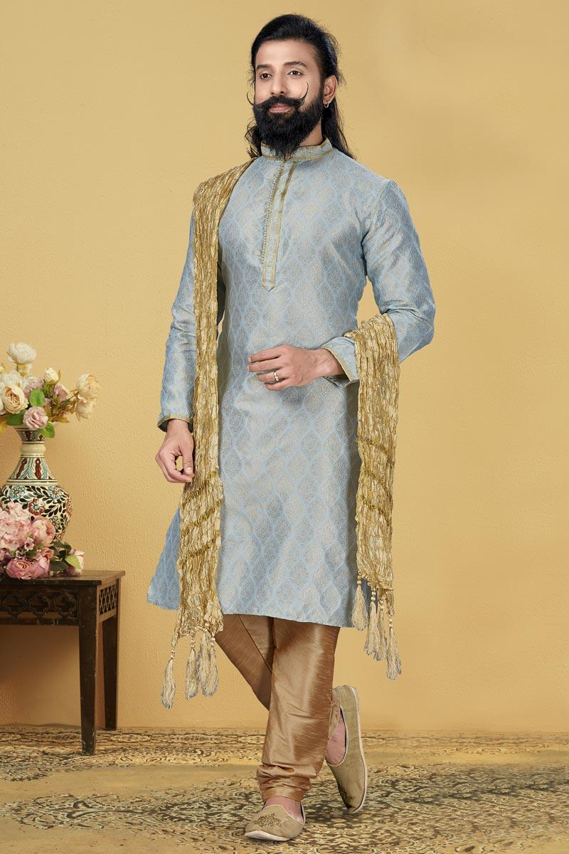 Light Cyan Color Jacquard Silk Fabric Sangeet Wear Kurta Pyjama