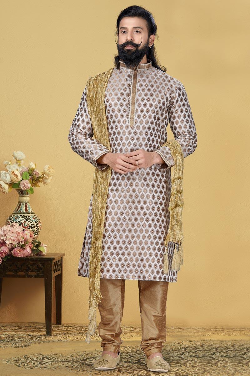 Off White Color Jacquard Silk Fabric Wedding Wear Fancy Kurta Pyjama