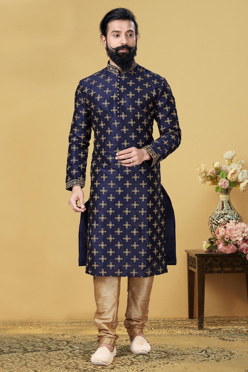 Dhupion Fabric Puja Wear Fancy Kurta Pyjama