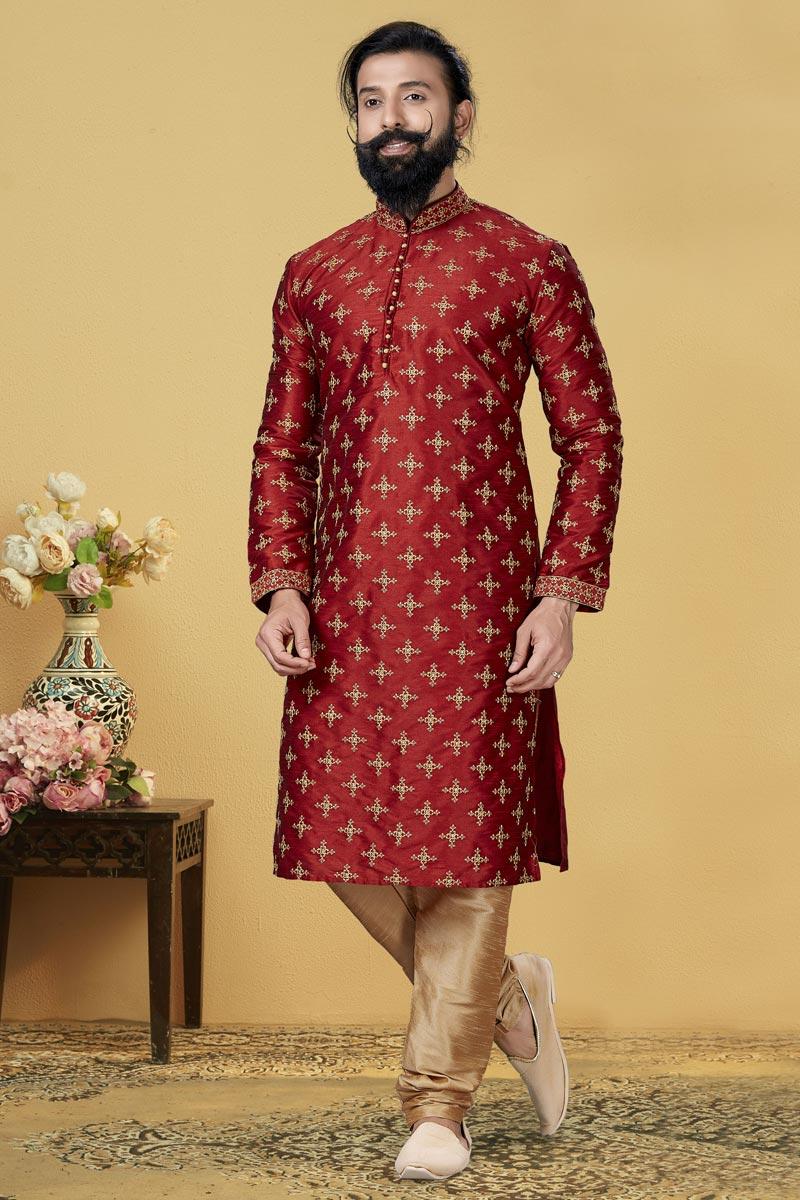 Maroon Color Dhupion Fabric Function Wear Fancy Kurta Pyjama