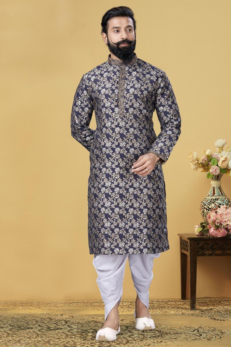 Navy Blue Color Festive Wear Fancy Kurta Pyjama