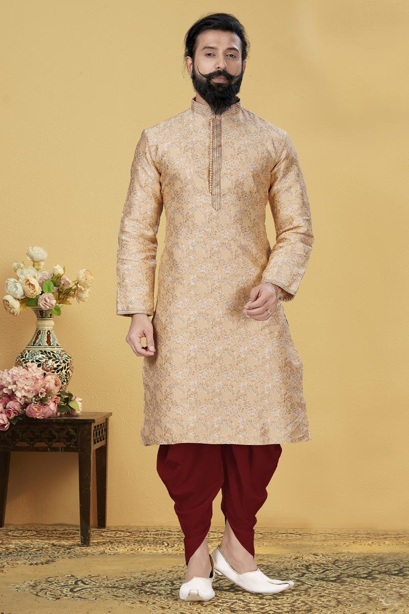 Cream Color Jacquard Silk Fabric Sangeet Wear Fancy Kurta Pyjama