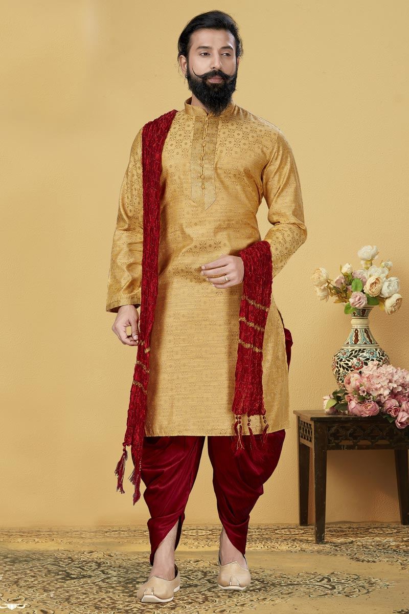 Mustard Color Jacquard Silk Fabric Wedding Wear Fancy Kurta Pyjama