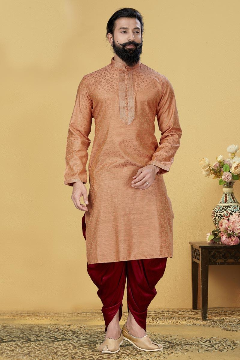 Peach Color Jacquard Silk Fabric Reception Wear Fancy Kurta Pyjama