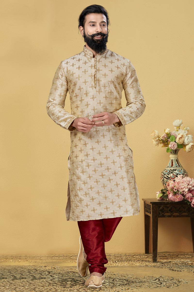 Beige Color Dhupion Fabric Puja Wear Fancy Kurta Pyjama