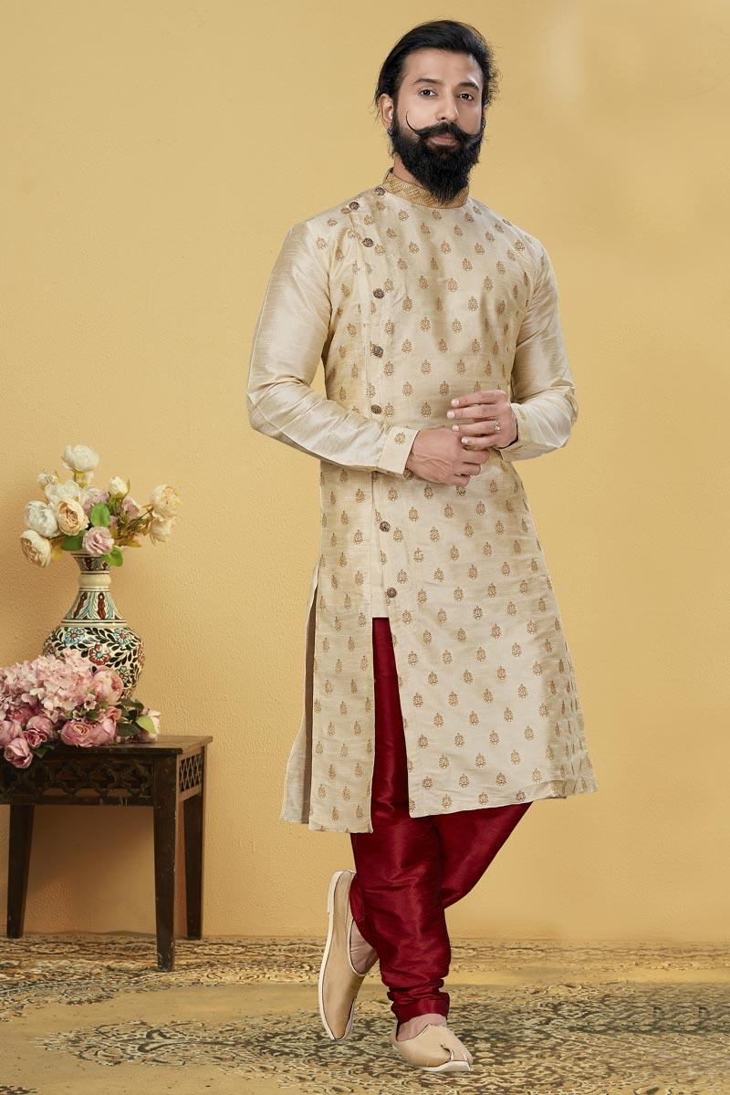 Beige Color Dhupion Fabric Function Wear Fancy Kurta Pyjama