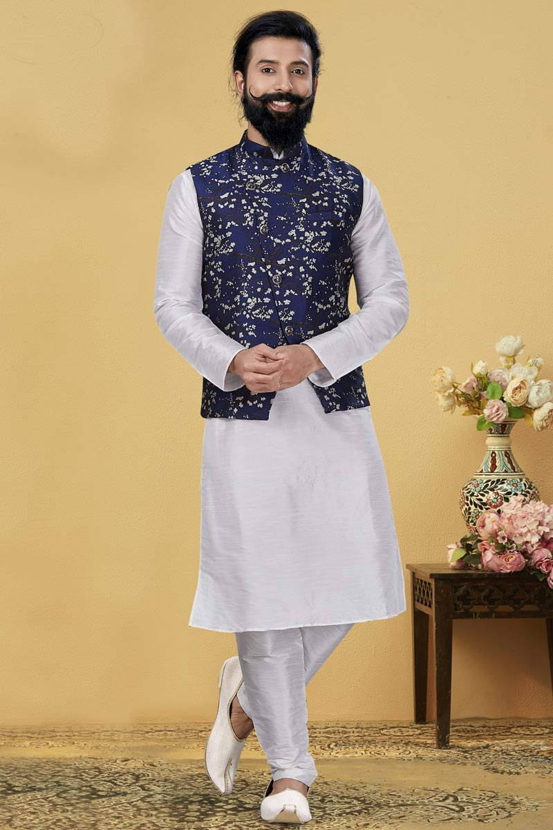 White Color Dhupion Silk Fabric Function Wear Designer Kurta Pyjama With Digital Print Jacket