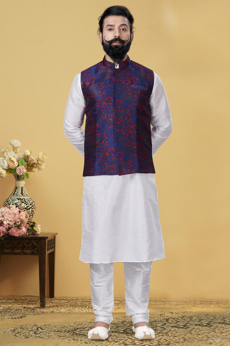 White Color Dhupion Silk Fabric Sangeet Wear Designer Kurta Pyjama With Digital Print Jacket